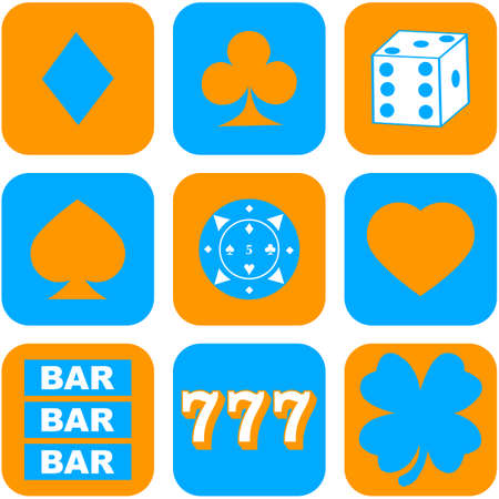 Flat design icon set showing different elements related to casinos and gambling