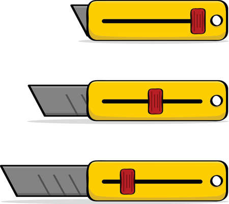 Cartoon illustration of a box cutter with its blade drawn in or extended Ilustrace