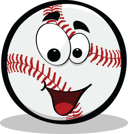 Cartoon illustration of a baseball with a smiley happy face