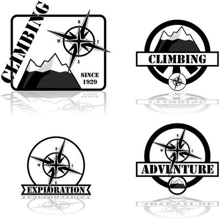 Concept illustration showing a collection of climbing and adventure themed badges Stok Fotoğraf - 138466996