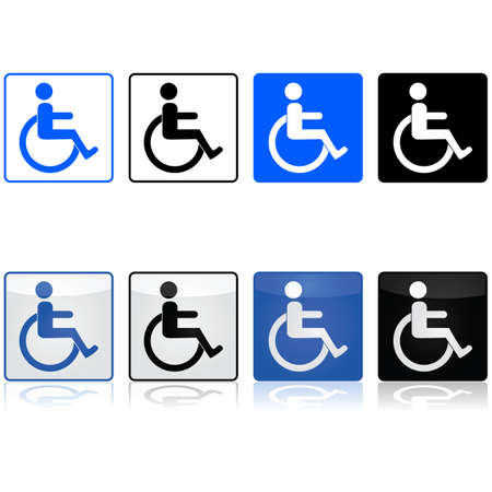 Icon set showing a wheelchair sign represented in different colors and styles
