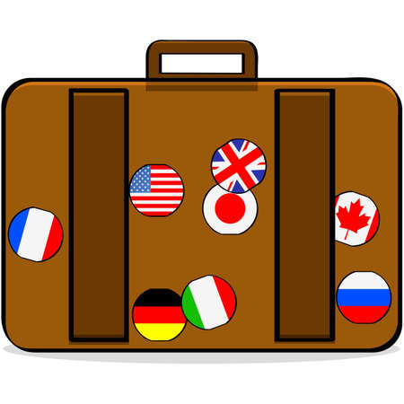 Cartoon illustration showing a suitcase with badges of different countries Stok Fotoğraf - 138467248