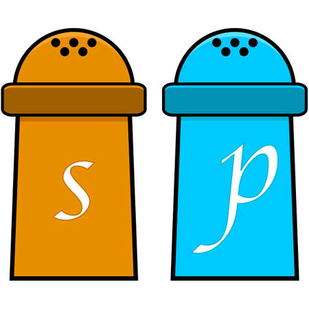 Cartoon illustration showing a salt and a pepper shaker