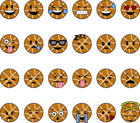 Collection of cartoon basketballs with faces showing different emotions