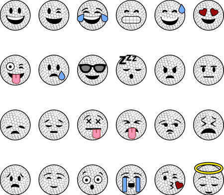 Collection of cartoon golf balls with faces showing different emotions Çizim