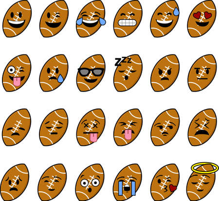 Collection of cartoon footballs with faces showing different emotions