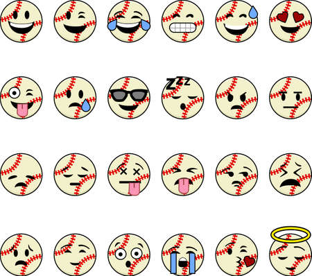 Collection of cartoon baseballs with faces showing different emotions