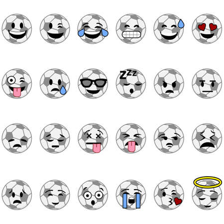 Collection of cartoon soccer balls with faces showing different emotions Çizim
