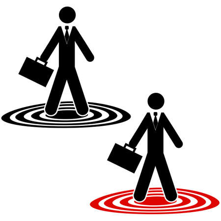 Icon showing a businessman standing atop circles on the ground Banco de Imagens - 140551832
