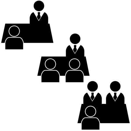 Icon set showing one or more people being interviewed by a single or multiple people