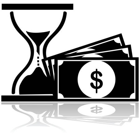 Concept illustration showing a bill and an hourglass to show time is money