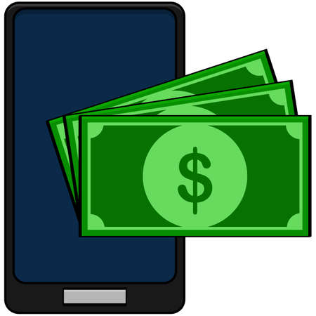 Concept cartoon illustration showing three bills on top of a phone, to implicate mobile payment Ilustração