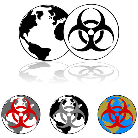 Icon set showing Earth combined with the symbol for infectious materials