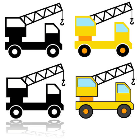 Icon set showing different representations of a crane truck Ilustração