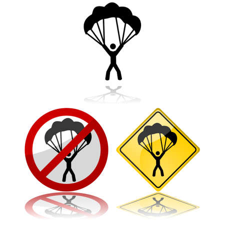 Icon set showing a paraglider by themselves and in traffic signs Çizim