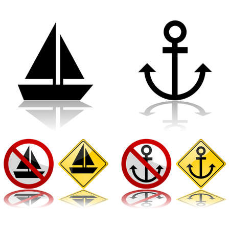 Icon set showing a boat and an anchor, by themselves or in traffic signs Stok Fotoğraf - 140874073
