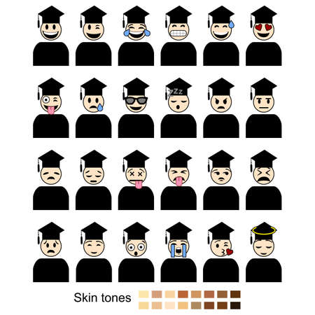 Icon set showing different facial expressions and emotions shown by students graduating. Includes different skin tones for easy customization. Ilustração