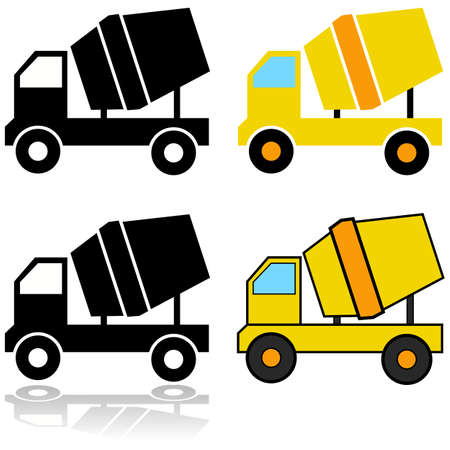 Icon set showing different representations of a cement mixer Stok Fotoğraf - 140881807