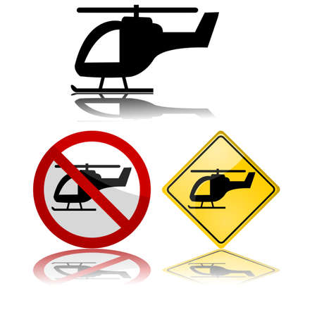 Icon set showing a helicopter by itself and in traffic signs Çizim