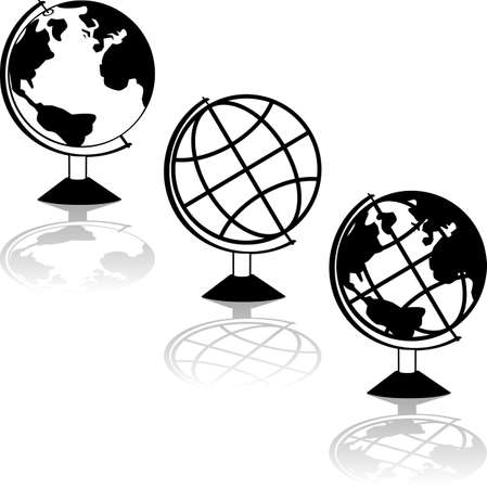 Icon set showing three different representations of a globe