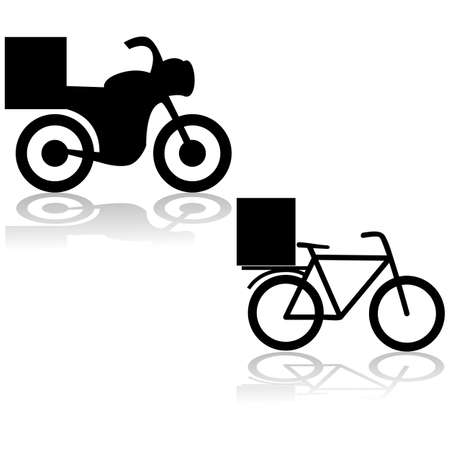 Icons showing a motorcycle and a bicycle used for food delivery 矢量图像