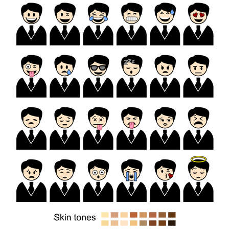 Icon set showing different facial expressions and emotions shown by businessmen. Includes different skin tones for easy customization.