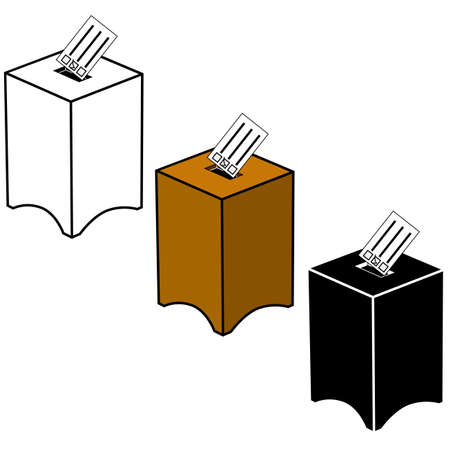 Icon set showing a ballot box in black and white or color Çizim