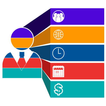 Infographic concept showing a businessman made up of different parts, represented by different colors