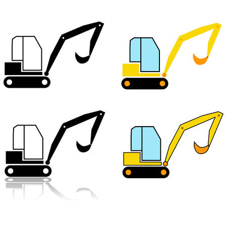 Icon set showing an illustration of an excavator represented in different styles