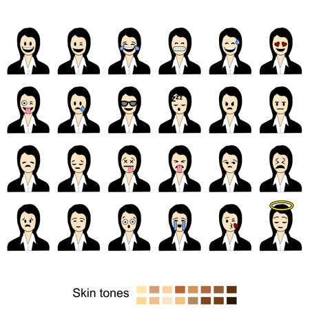 Icon set showing different facial expressions and emotions shown by business women. Includes different skin tones for easy customization. Ilustração