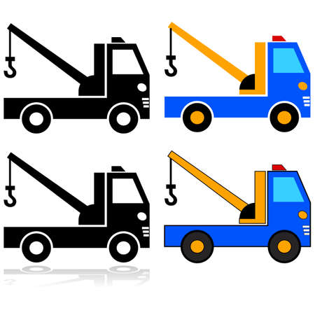 Icon set showing an illustration of a tow truck represented in different styles