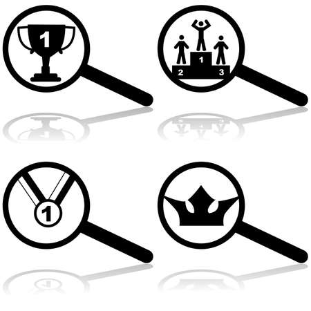 Concept icon set showing a series of magnifying glasses with representations of being the best at its field, representing the top result in search engines