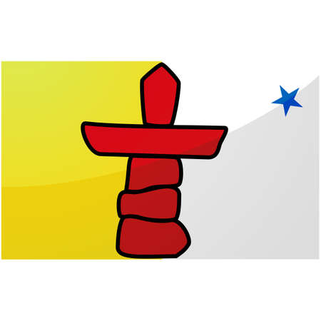 Glossy illustration of the flag of the Canadian province of Nunavut