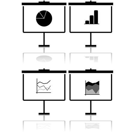 Icon set showing a flip chart presenting different types of statistics