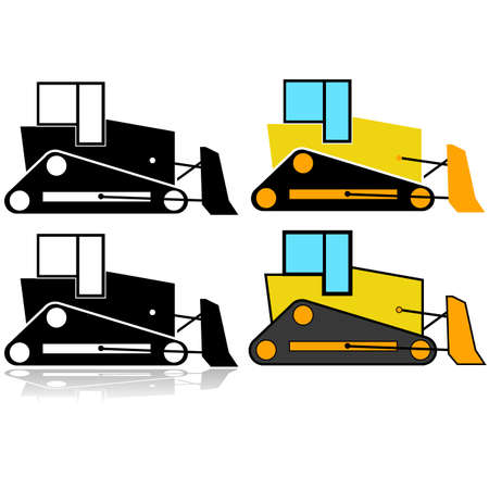 Icon set showing an illustration of a bulldozer represented in different styles