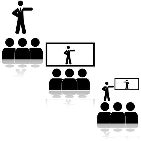 Icons showing a team watching a presentation from a live person or on a screen
