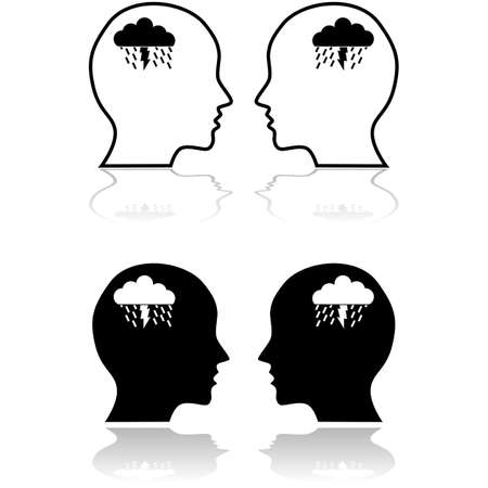 Concept icon showing people having a brainstorming session