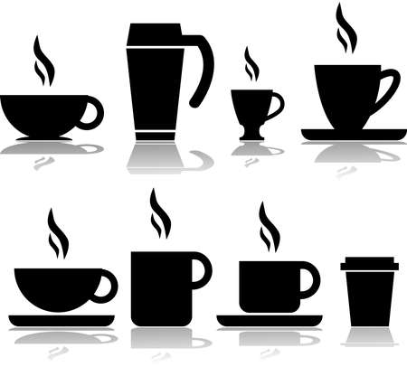 Icon set showing different types of coffee cups and mugs