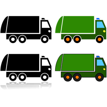Icon set showing an illustration of a garbage truck represented in different styles