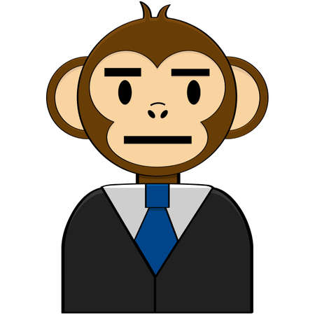 Concept cartoon illustration showing a monkey in a business suit Ilustração