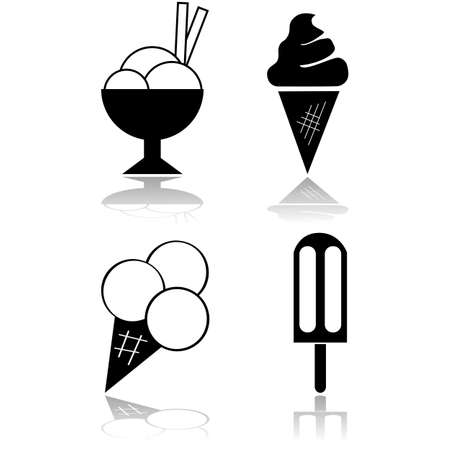 Icon set showing different servings of ice cream Ilustração