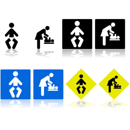 Signs showing icons for a baby changing room or area