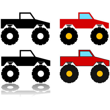 Icon set showing an illustration of a monster truck represented in different styles Ilustração