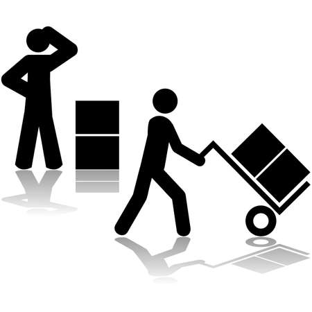 Icon set: first icon showing a man wondering how to carry boxes and second showing him using a hand truck