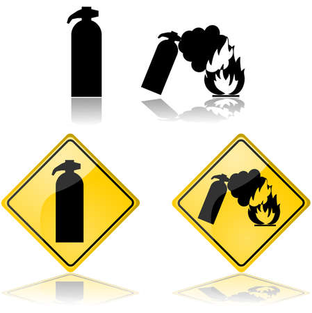 Icon set with signs showing a fire extinguisher putting out a fire Çizim