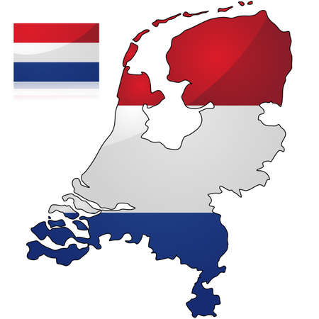 Glossy illustration showing the map and the flag of the Netherlands Ilustração