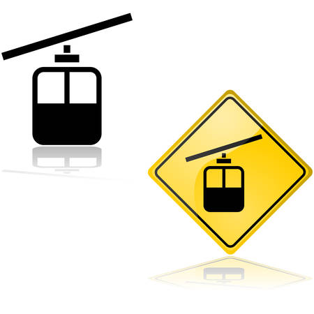 Icon and sign showing a cable car, reflected on white