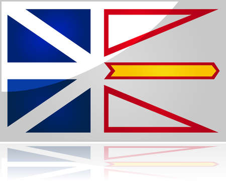 Glossy illustration showing the flag of the Canadian province of Newfoundland and Labrador Çizim