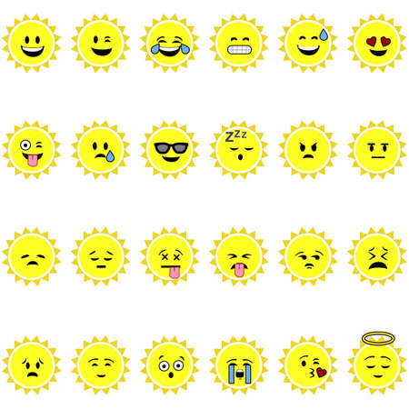 Set of emojis showing a cartoon sun with different faces