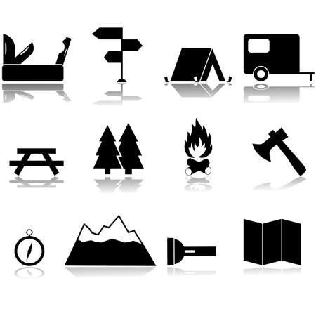 Icon set showing items related to camping trips and outdoor activities Çizim